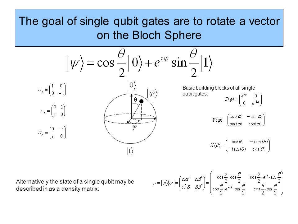The goal of single qubit gates are to rotate a vector on the Bloch Sphere Basic building blocks of all single qubit gates: Alternatively the state of a single qubit may be described in as a density matrix: