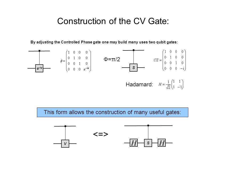 Construction of the CV Gate: Hadamard: S HH Se -iφ By adjusting the Controlled Phase gate one may build many uses two qubit gates: Φ=π/2 This form allows the construction of many useful gates: V