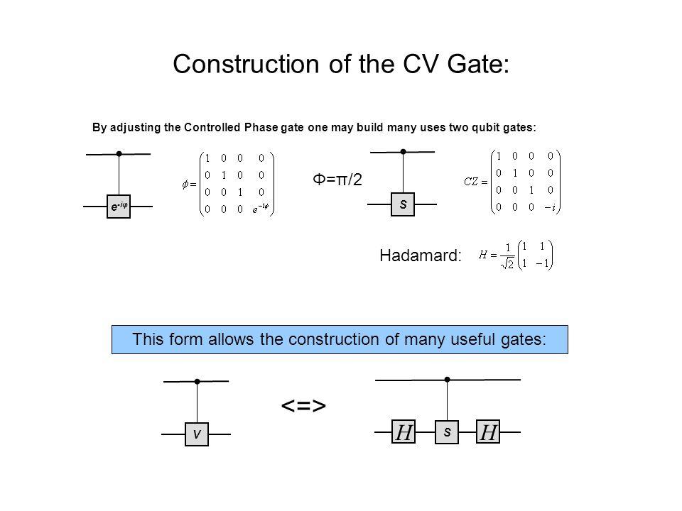 Toffoli Gate: V V+V+ V Now smaller gates can be used to build larger gates: