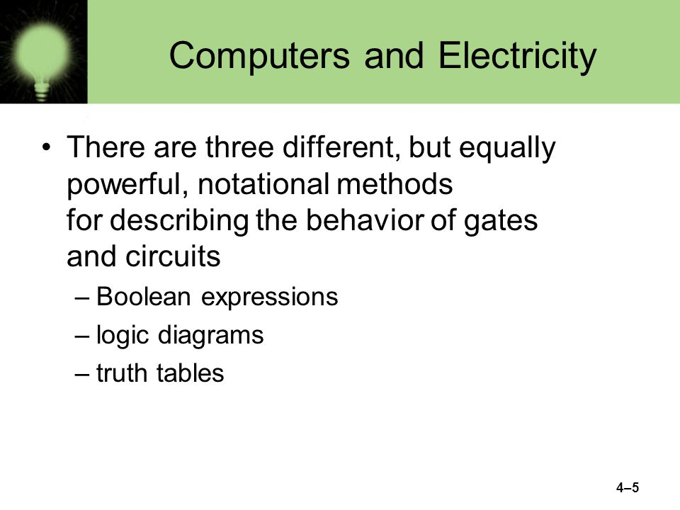 4–26 Now lets go the other way; lets take a Boolean expression and draw We have therefore just demonstrated circuit equivalence –That is, both circuits produce the exact same output for each input value combination Boolean algebra allows us to apply provable mathematical principles to help us design logical circuits