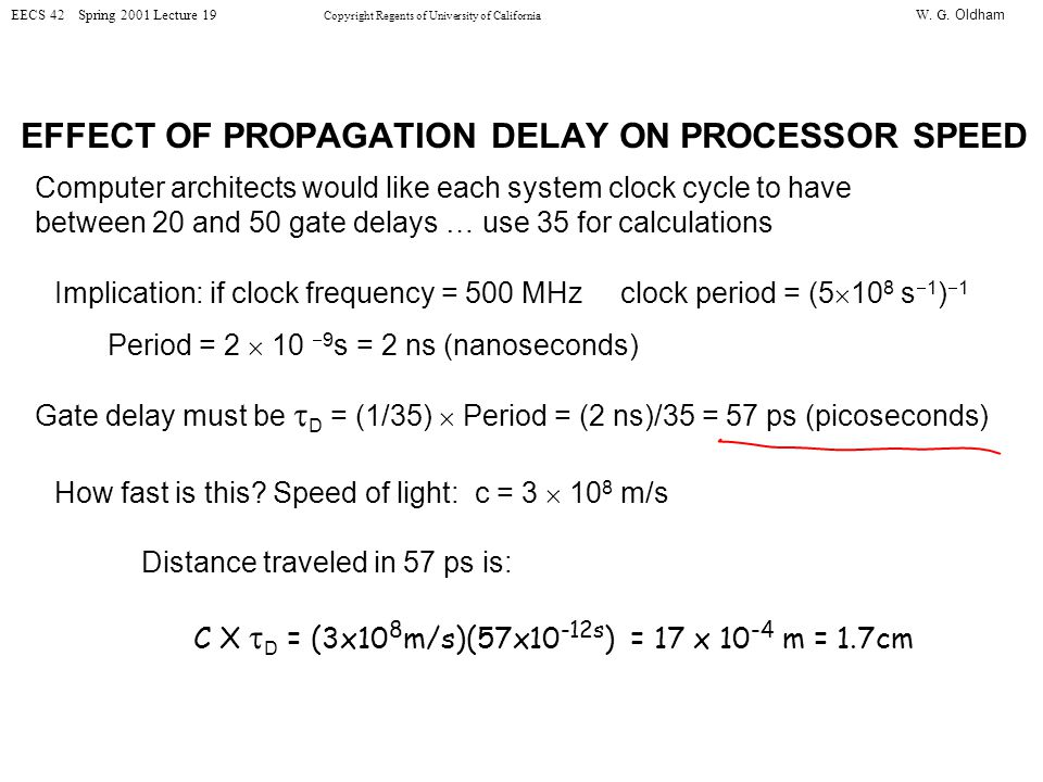 W. G. Oldham EECS 42 Spring 2001 Lecture 19 Copyright Regents of University of California EFFECT OF PROPAGATION DELAY ON PROCESSOR SPEED Computer arch