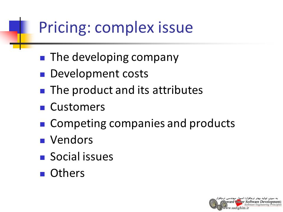 Pricing: complex issue The developing company Development costs The product and its attributes Customers Competing companies and products Vendors Social issues Others