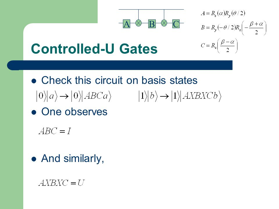 Controlled-U Gates Check this circuit on basis states One observes And similarly, BAC