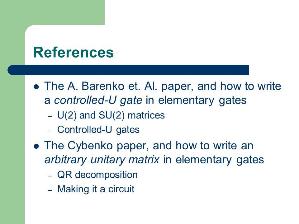 References The A.Barenko et. Al.