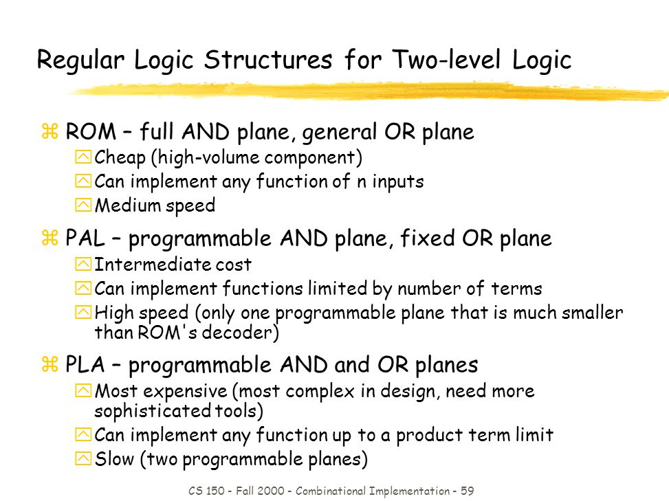 CS 150 - Fall 2000 - Combinational Implementation - 59 Regular Logic Structures for Two-level Logic zROM – full AND plane, general OR plane yCheap (high-volume component) yCan implement any function of n inputs yMedium speed zPAL – programmable AND plane, fixed OR plane yIntermediate cost yCan implement functions limited by number of terms yHigh speed (only one programmable plane that is much smaller than ROM s decoder) zPLA – programmable AND and OR planes yMost expensive (most complex in design, need more sophisticated tools) yCan implement any function up to a product term limit ySlow (two programmable planes)