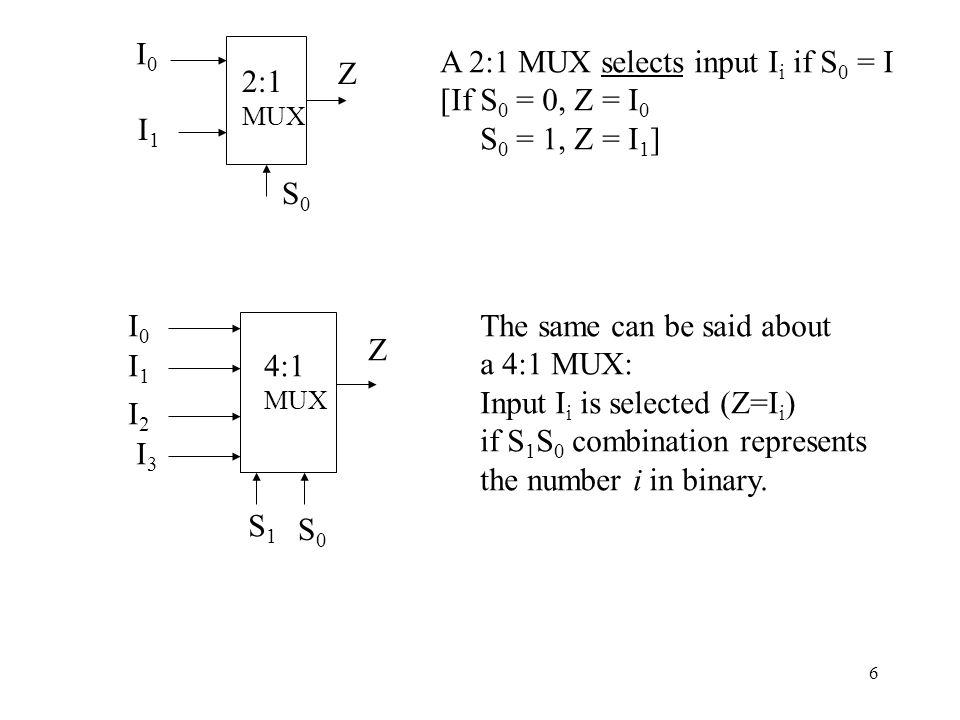 7 In general, # of data inputs (I i s) is 2 n # of control I/Ps = n [If S 1 S 0 = 00 (#0), Z = I o S 1 S 0 = 01 (#1), Z = I 1 S 1 S 0 = 10 (#2), Z = I 2 S 1 S 0 = 11 (#3), Z = I 3 ] S 1 S 0 Z 0 0 I 0 0 1 I 1 1 0 I 2 1 1 I 3 A generalized or symbolic TT