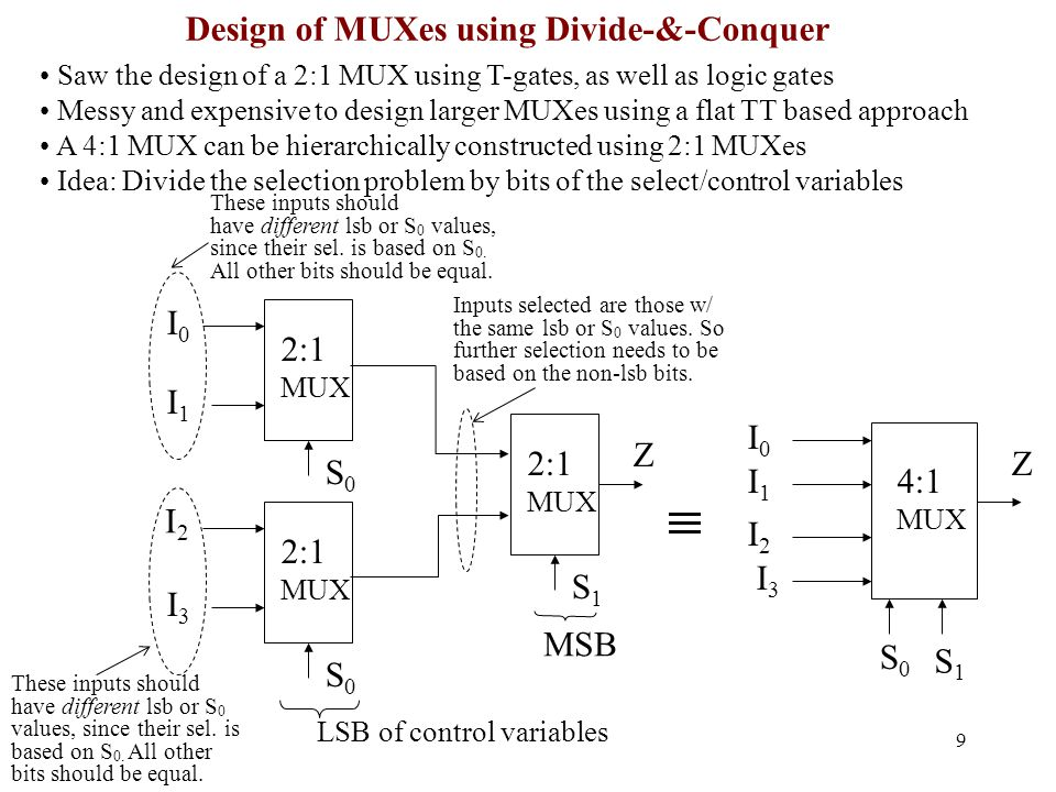9 Saw the design of a 2:1 MUX using T-gates, as well as logic gates Messy and expensive to design larger MUXes using a flat TT based approach A 4:1 MUX can be hierarchically constructed using 2:1 MUXes Idea: Divide the selection problem by bits of the select/control variables LSB of control variables 4:1 MUX I0I0 I1I1 I2I2 I3I3 Z S0S0 S1S1 Design of MUXes using Divide-&-Conquer Inputs selected are those w/ the same lsb or S 0 values.