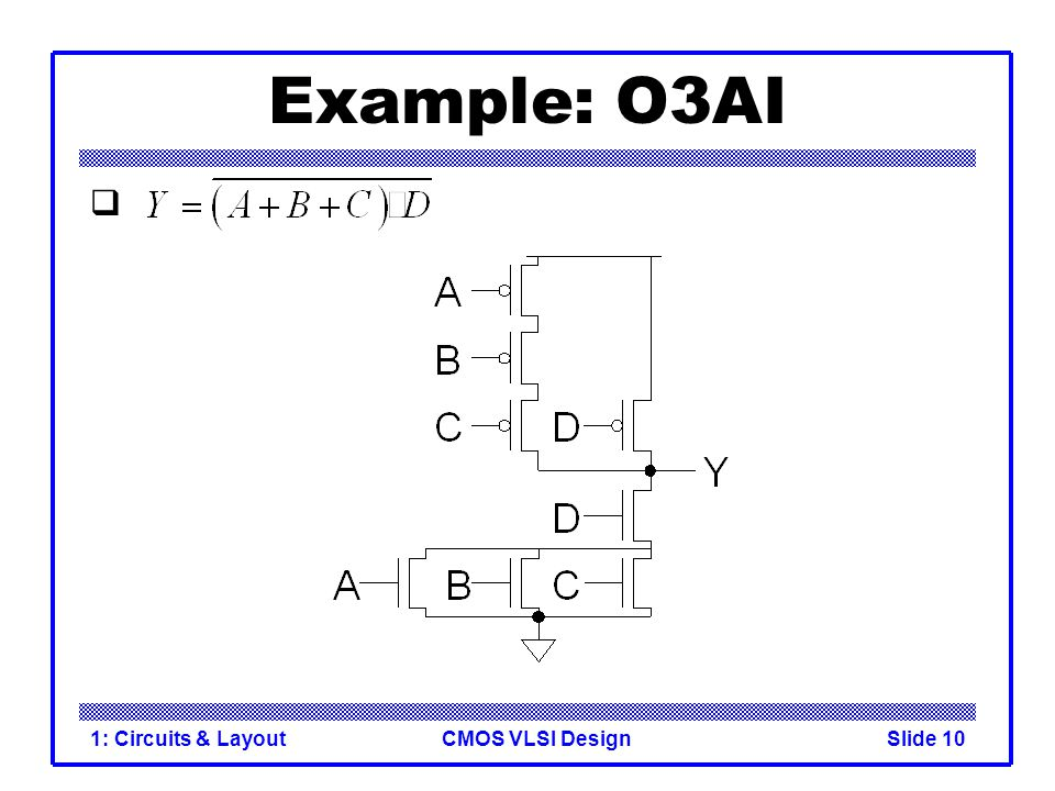 CMOS VLSI Design1: Circuits & LayoutSlide 10 Example: O3AI