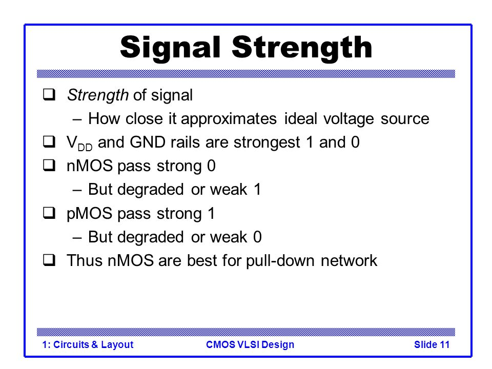 CMOS VLSI Design1: Circuits & LayoutSlide 11 Signal Strength Strength of signal –How close it approximates ideal voltage source V DD and GND rails are