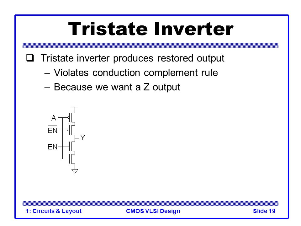 CMOS VLSI Design1: Circuits & LayoutSlide 19 Tristate Inverter Tristate inverter produces restored output –Violates conduction complement rule –Becaus