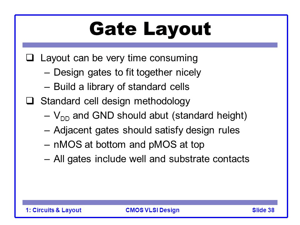 CMOS VLSI Design1: Circuits & LayoutSlide 38 Gate Layout Layout can be very time consuming –Design gates to fit together nicely –Build a library of st