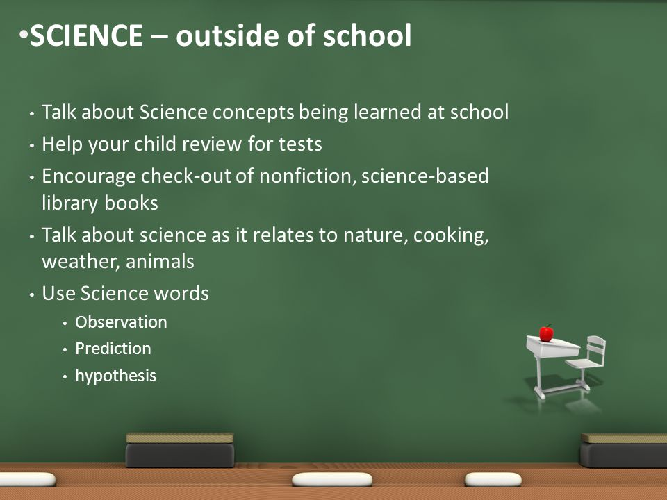 Talk about Science concepts being learned at school Help your child review for tests Encourage check-out of nonfiction, science-based library books Talk about science as it relates to nature, cooking, weather, animals Use Science words Observation Prediction hypothesis SCIENCE – outside of school