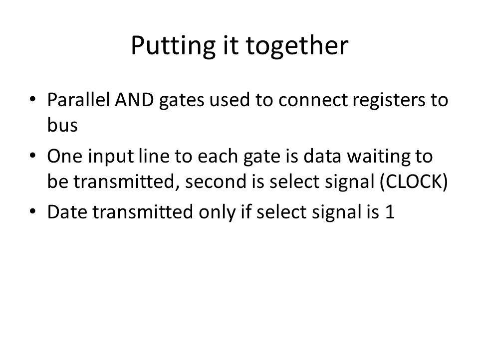 Putting it together Parallel AND gates used to connect registers to bus One input line to each gate is data waiting to be transmitted, second is selec