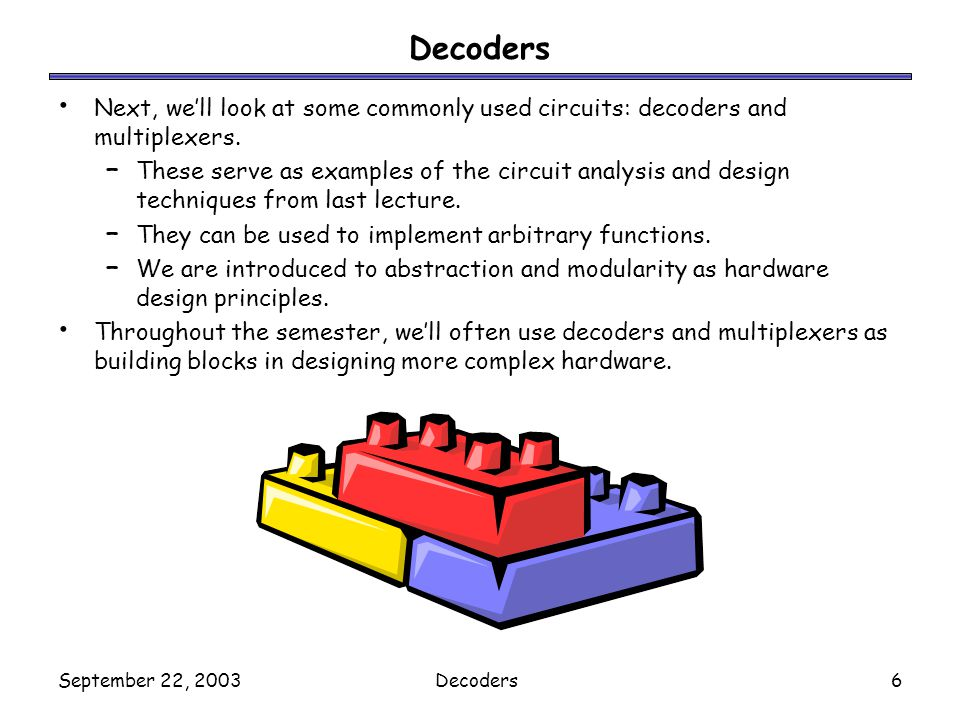September 22, 2003Decoders7 What is a decoder In older days, the (good) printers used be like typewriters: – To print A, a wheel turned, brought the A key up, which then was struck on the paper.