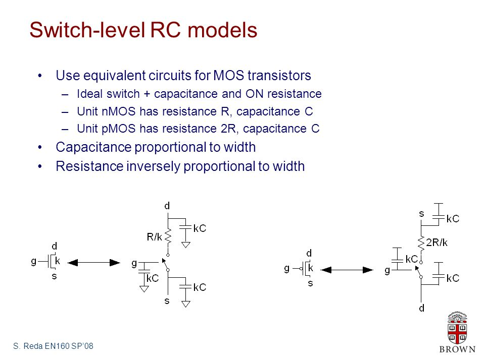 S. Reda EN160 SP08 Switch-level RC models Use equivalent circuits for MOS transistors –Ideal switch + capacitance and ON resistance –Unit nMOS has res