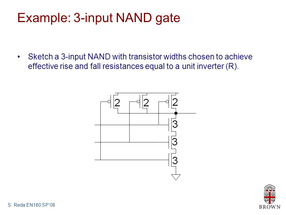 S. Reda EN160 SP08 Example: 3-input NAND gate Sketch a 3-input NAND with transistor widths chosen to achieve effective rise and fall resistances equal