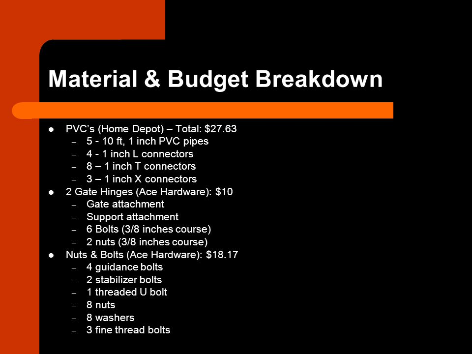 Material & Budget Breakdown PVCs (Home Depot) – Total: $27.63 – 5 - 10 ft, 1 inch PVC pipes – 4 - 1 inch L connectors – 8 – 1 inch T connectors – 3 – 1 inch X connectors 2 Gate Hinges (Ace Hardware): $10 – Gate attachment – Support attachment – 6 Bolts (3/8 inches course) – 2 nuts (3/8 inches course) Nuts & Bolts (Ace Hardware): $18.17 – 4 guidance bolts – 2 stabilizer bolts – 1 threaded U bolt – 8 nuts – 8 washers – 3 fine thread bolts