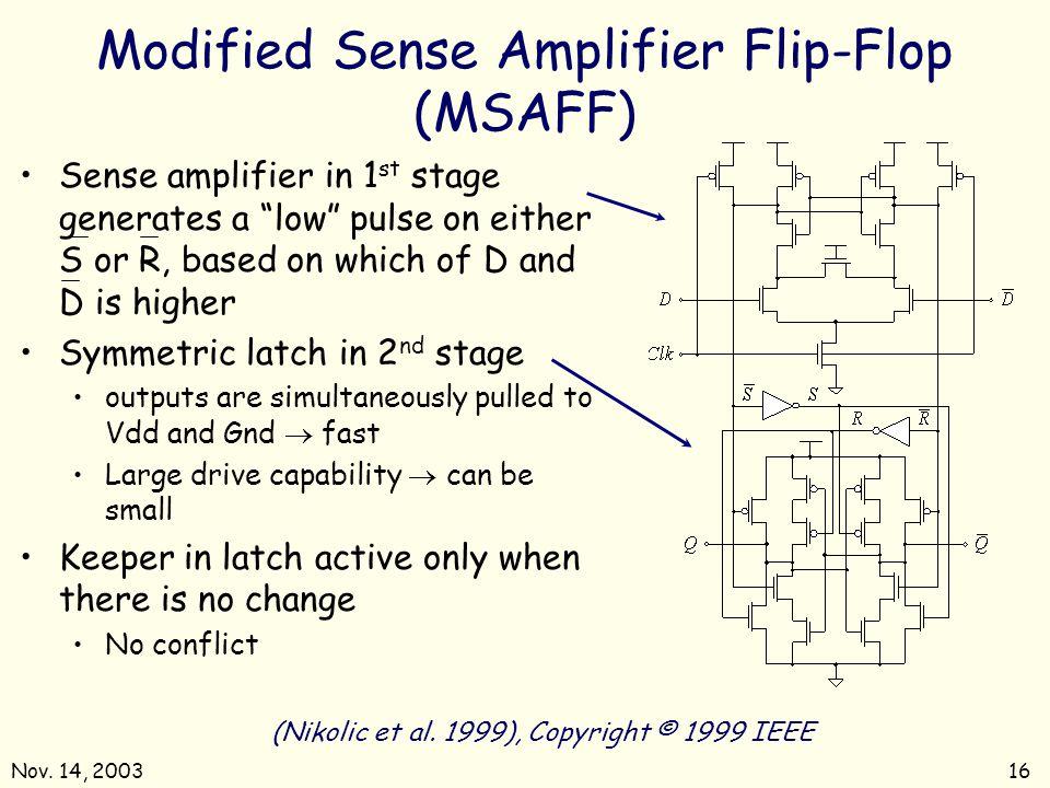 Nov. 14, 200316 (Nikolic et al. 1999), Copyright © 1999 IEEE Modified Sense Amplifier Flip-Flop (MSAFF) Sense amplifier in 1 st stage generates a low