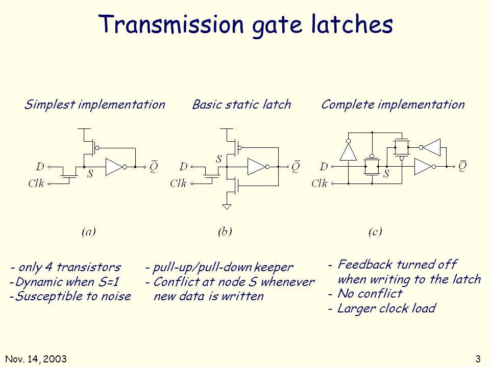 Nov. 14, 20033 Transmission gate latches Simplest implementationBasic static latchComplete implementation - only 4 transistors -Dynamic when S=1 -Susc