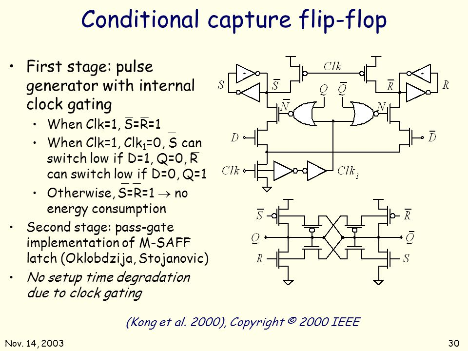 Nov. 14, 200330 Conditional capture flip-flop (Kong et al. 2000), Copyright © 2000 IEEE First stage: pulse generator with internal clock gating When C