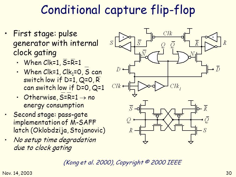 Nov.14, 200330 Conditional capture flip-flop (Kong et al.