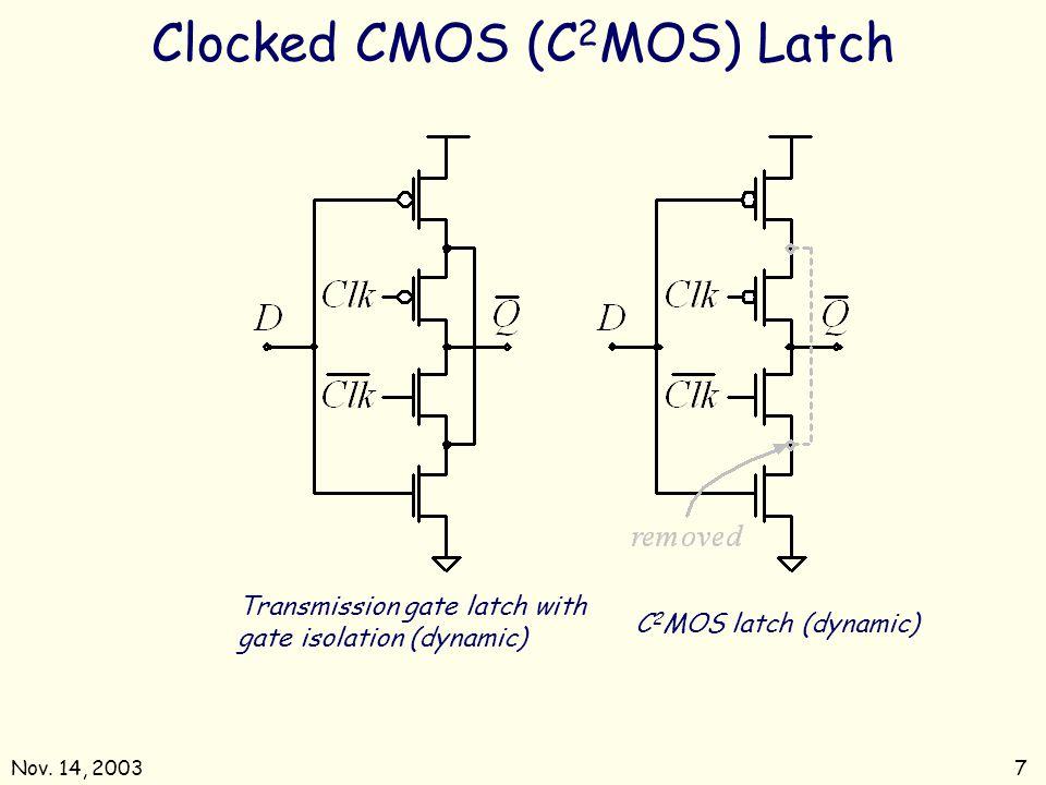 Nov. 14, 20037 Transmission gate latch with gate isolation (dynamic) C 2 MOS latch (dynamic) Clocked CMOS (C 2 MOS) Latch