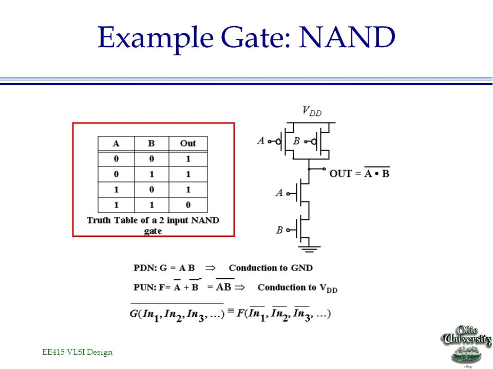 EE415 VLSI Design Example Gate: NOR