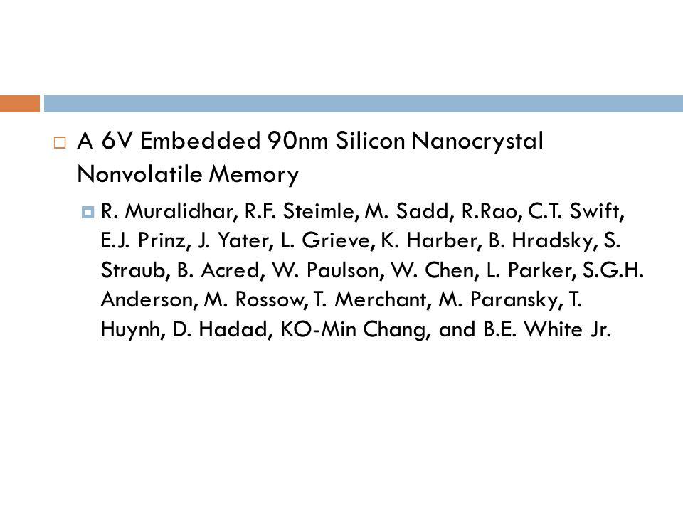 A 6V Embedded 90nm Silicon Nanocrystal Nonvolatile Memory R.