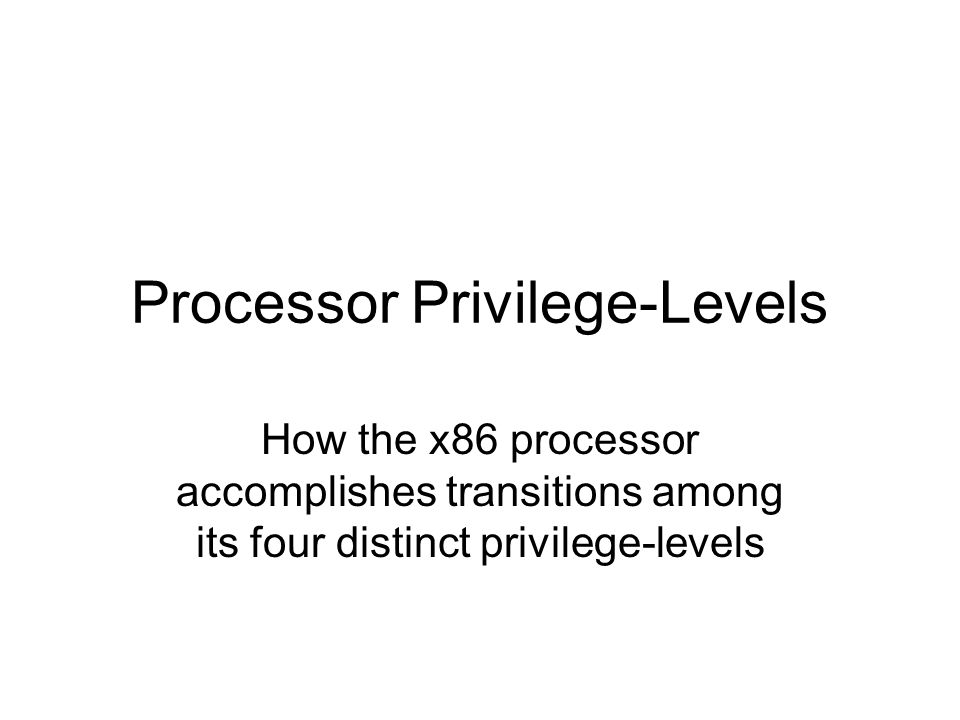 Processor Privilege-Levels How the x86 processor accomplishes transitions among its four distinct privilege-levels