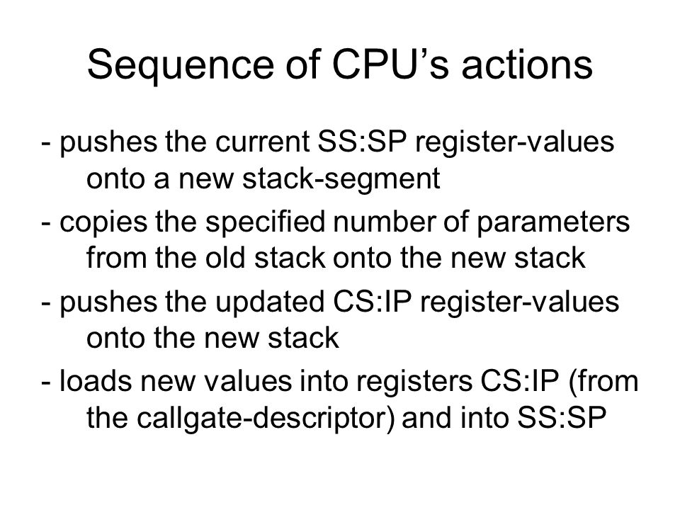 Sequence of CPUs actions - pushes the current SS:SP register-values onto a new stack-segment - copies the specified number of parameters from the old