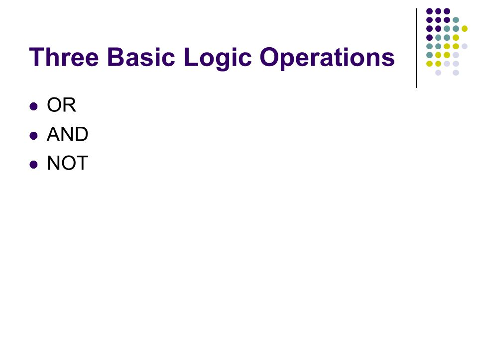 Three Basic Logic Operations OR AND NOT