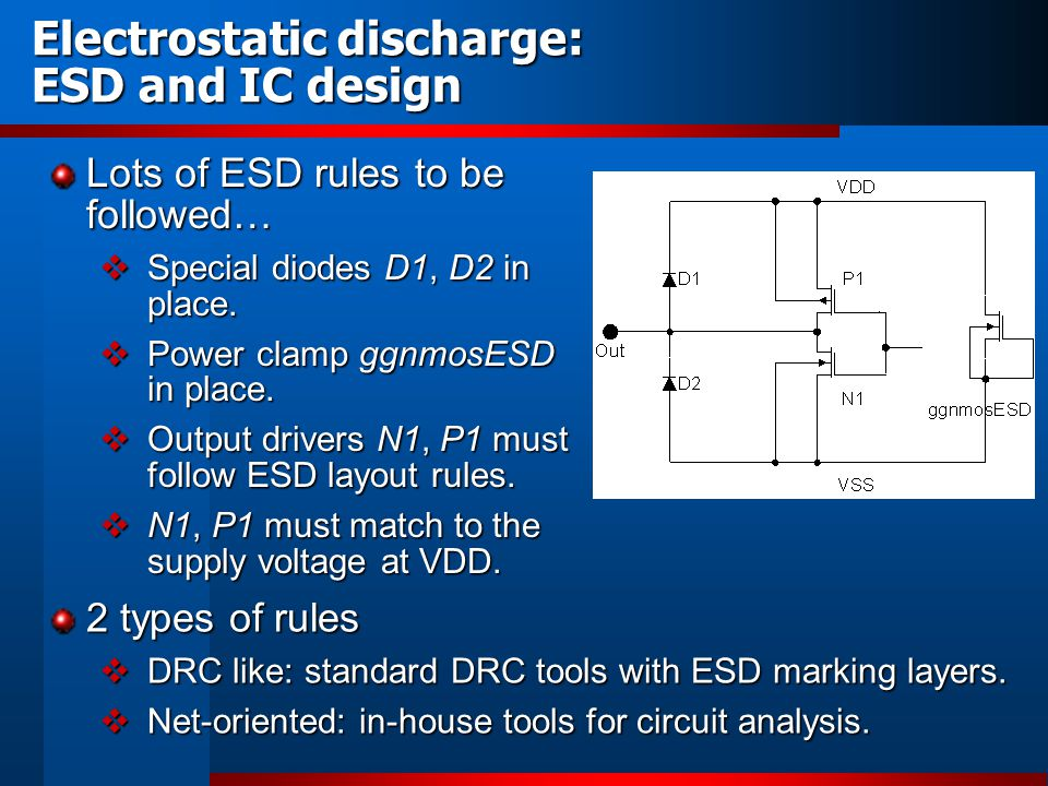 Electrostatic discharge: ESD and IC design 2 types of rules DRC like: standard DRC tools with ESD marking layers. DRC like: standard DRC tools with ES