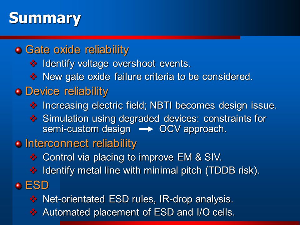 Summary Gate oxide reliability Identify voltage overshoot events. Identify voltage overshoot events. New gate oxide failure criteria to be considered.