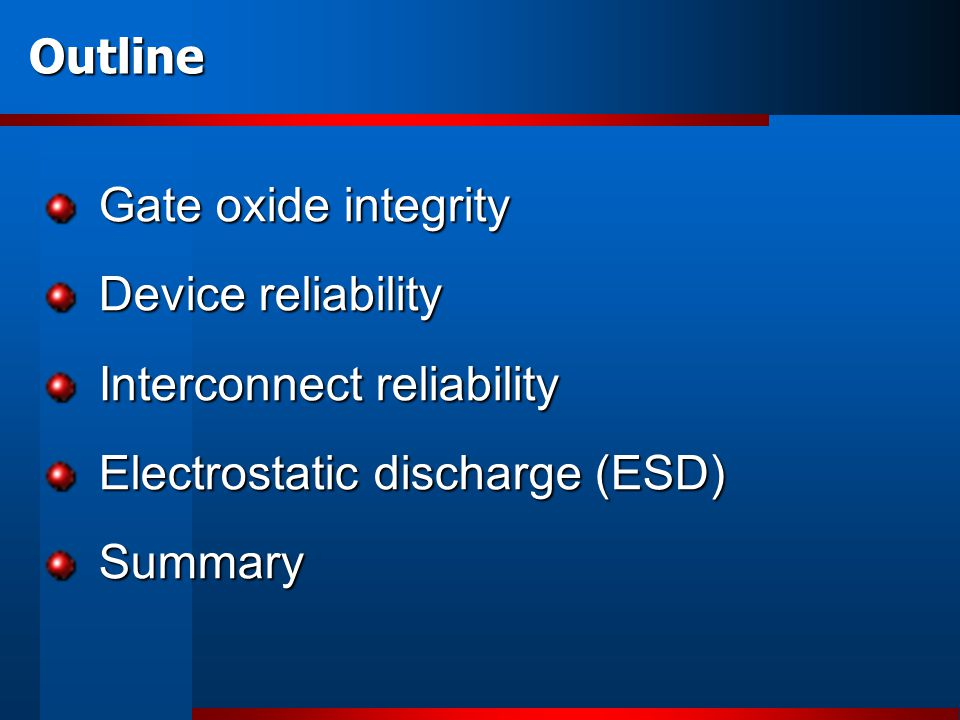 Gate oxide integrity: Overshoot events Each electric stress consumes oxide lifetime; degradation is cumulative.