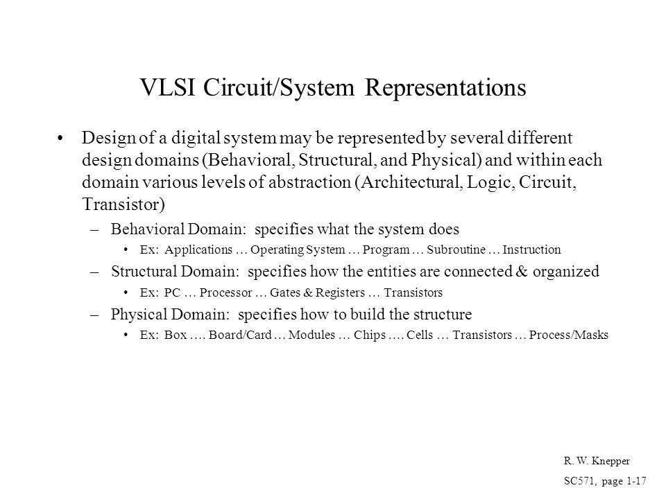VLSI Circuit/System Representations Design of a digital system may be represented by several different design domains (Behavioral, Structural, and Phy