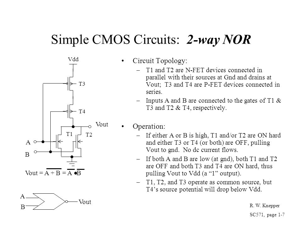 Simple CMOS Circuits: 2-way NOR Circuit Topology: –T1 and T2 are N-FET devices connected in parallel with their sources at Gnd and drains at Vout; T3