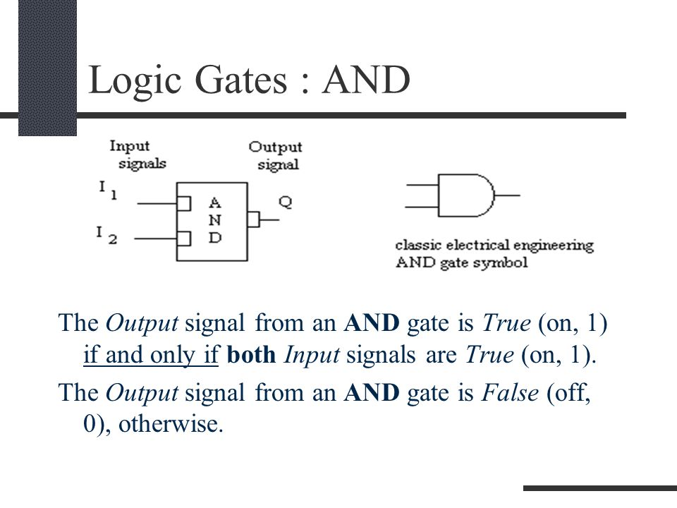 Logic Gates : AND The Output signal from an AND gate is True (on, 1) if and only if both Input signals are True (on, 1).