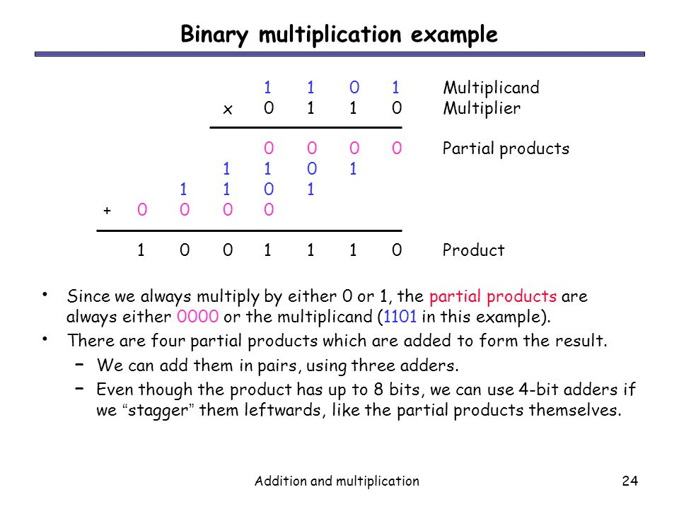 Addition and multiplication24 Binary multiplication example Since we always multiply by either 0 or 1, the partial products are always either 0000 or
