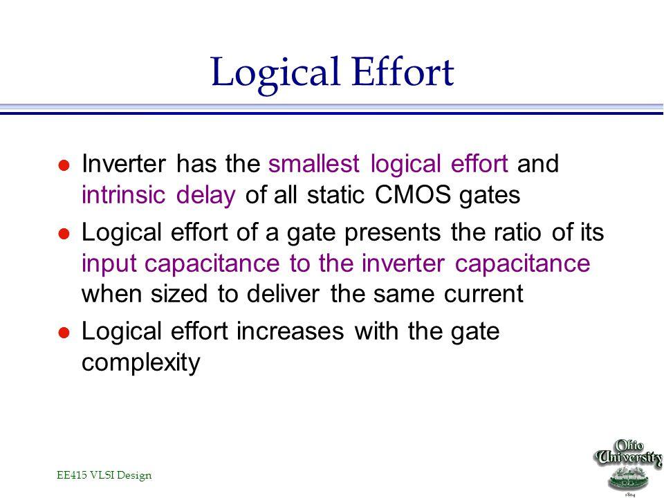 EE415 VLSI Design Logical Effort l Inverter has the smallest logical effort and intrinsic delay of all static CMOS gates l Logical effort of a gate pr