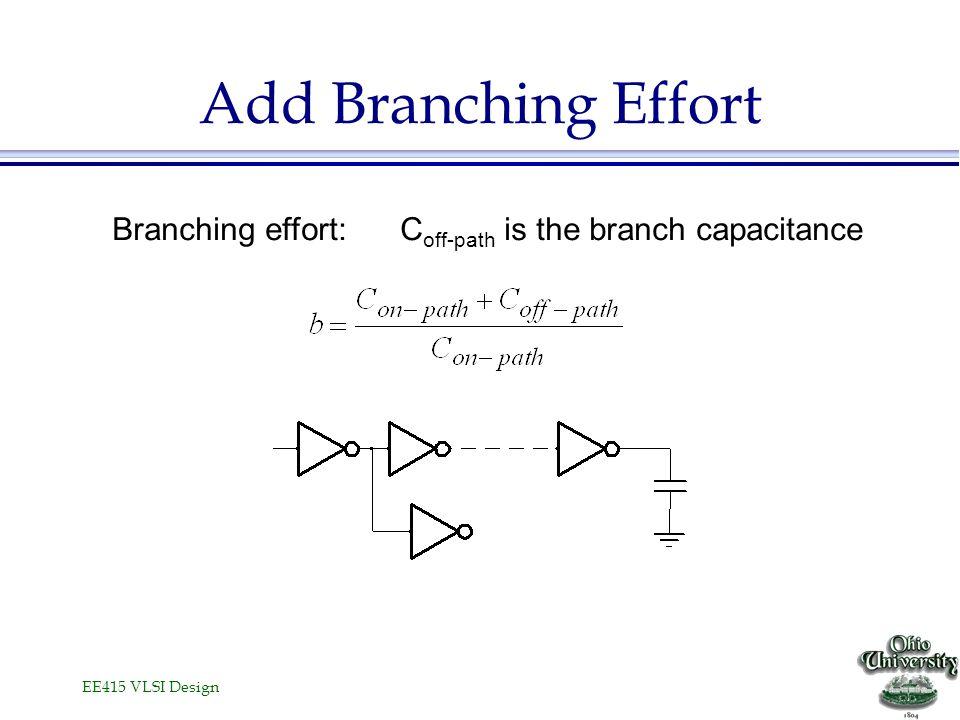 EE415 VLSI Design Add Branching Effort Branching effort:C off-path is the branch capacitance
