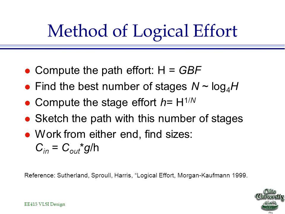EE415 VLSI Design Method of Logical Effort l Compute the path effort: H = GBF l Find the best number of stages N ~ log 4 H l Compute the stage effort