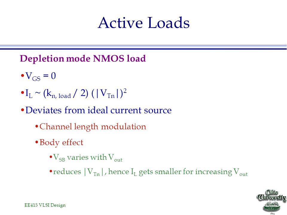 EE415 VLSI Design Active Loads Depletion mode NMOS load V GS = 0 I L ~ (k n, load / 2) (|V Tn |) 2 Deviates from ideal current source Channel length m