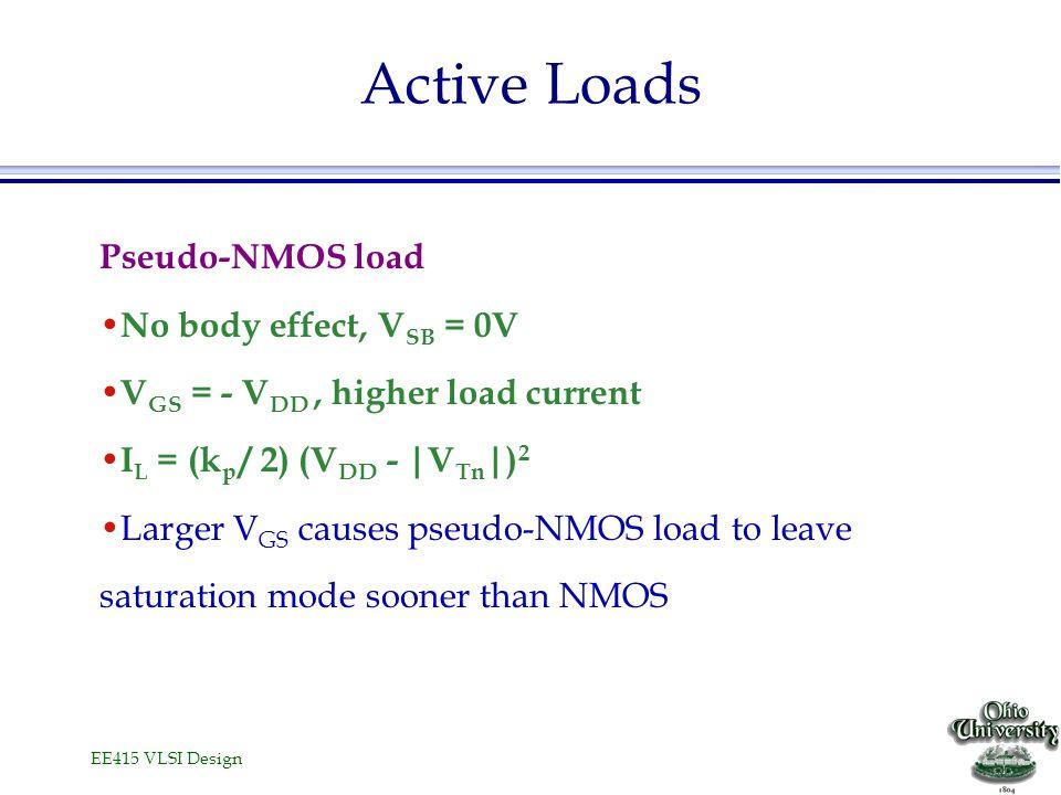 EE415 VLSI Design Active Loads Pseudo-NMOS load No body effect, V SB = 0V V GS = - V DD, higher load current I L = (k p / 2) (V DD - |V Tn |) 2 Larger