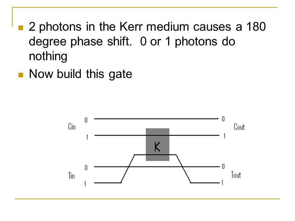 2 photons in the Kerr medium causes a 180 degree phase shift.