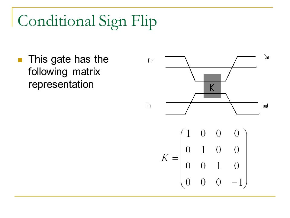 Conditional Sign Flip This gate has the following matrix representation