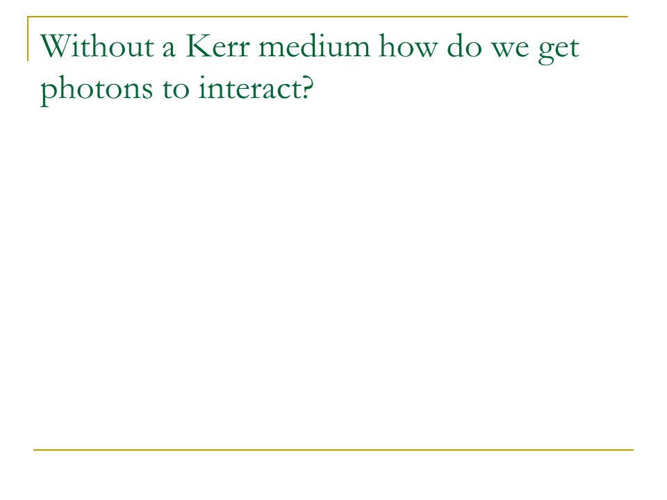 Without a Kerr medium how do we get photons to interact?