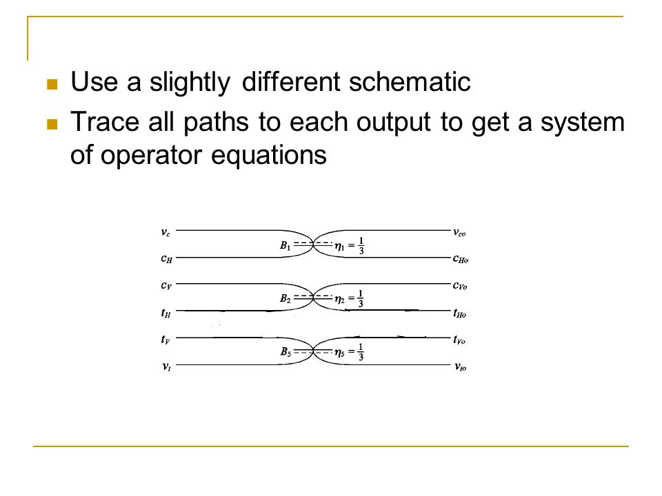 Use a slightly different schematic Trace all paths to each output to get a system of operator equations