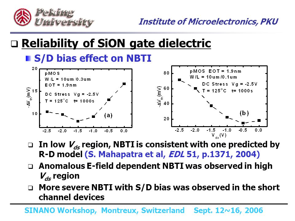 Institute of Microelectronics, PKU SINANO Workshop, Montreux, Switzerland Sept. 12~16, 2006 Reliability of SiON gate dielectric S/D bias effect on NBT