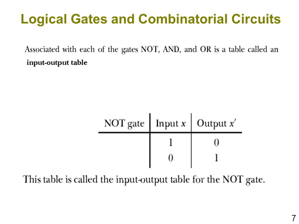 7 Logical Gates and Combinatorial Circuits