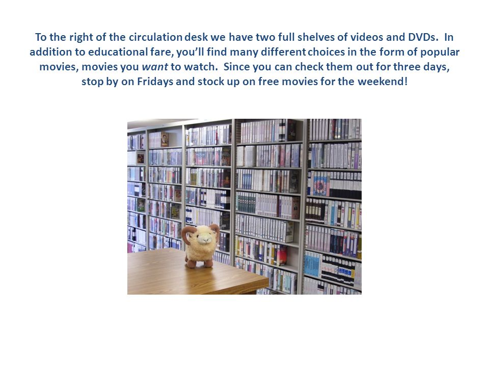 To the right of the circulation desk we have two full shelves of videos and DVDs.